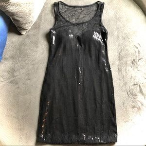 As U Wish Black Sequin Dress with Lace